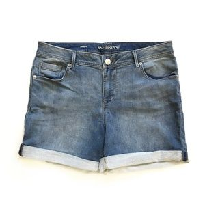 Lane Bryant Medium Wash Rollup Denim Shorts :237